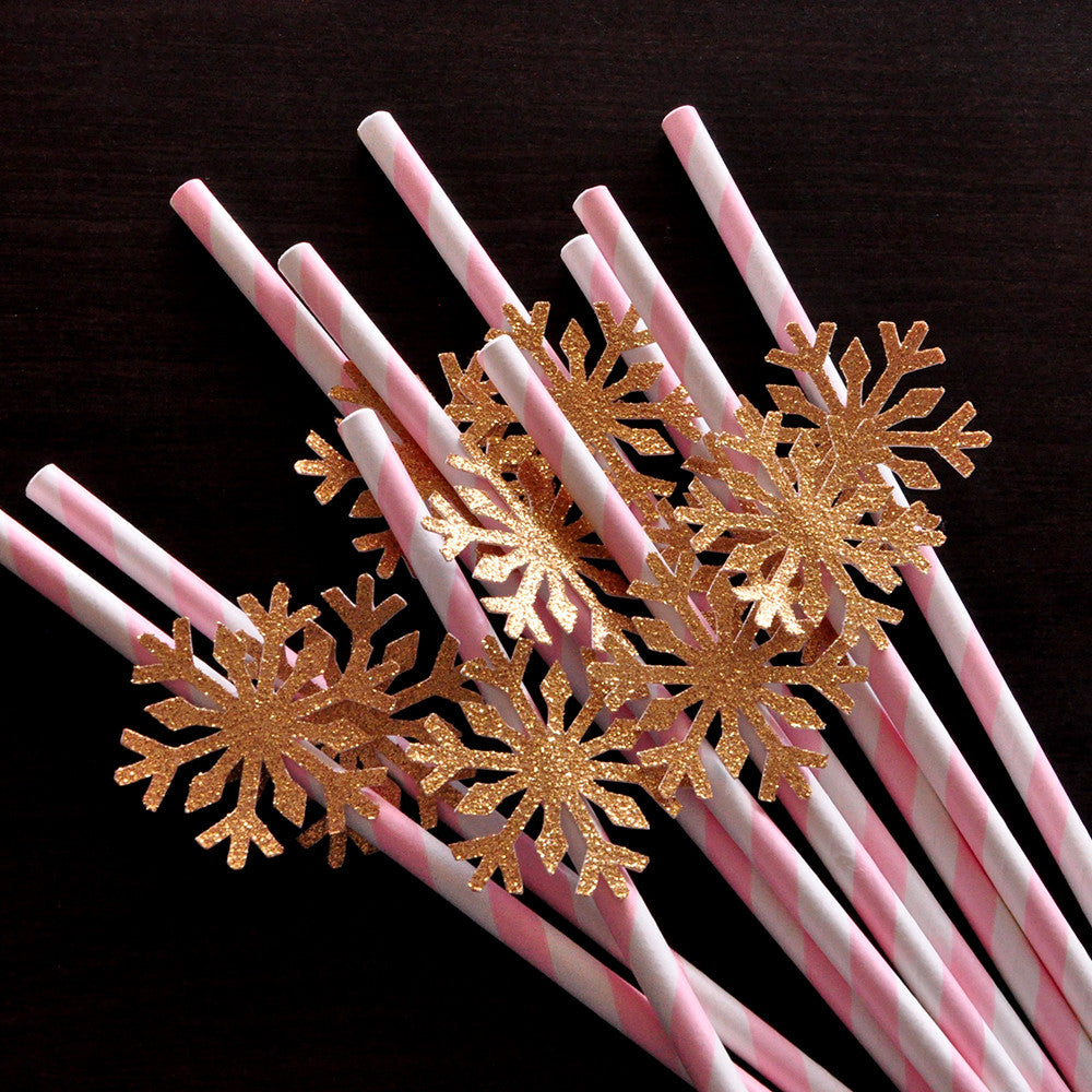 Pink and Gold Party Decorations.  Ships in 1-3 Business Days.  Snowflake Straws 10CT.  Winter Onederland Birthday.