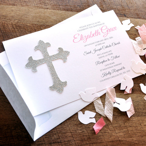 Baptism Invitations and Envelopes in Pink and Silver. We Print, Cut, Glue and Ship to You in 1-3 Business Days. Girl Christening Invitations.