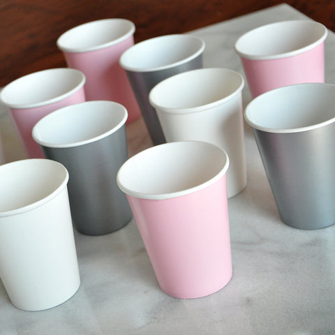 Confetti Momma Pink and Silver Cups for a Swan Princess Party. Set of 12 Cups in Baby Pink, White and Silver