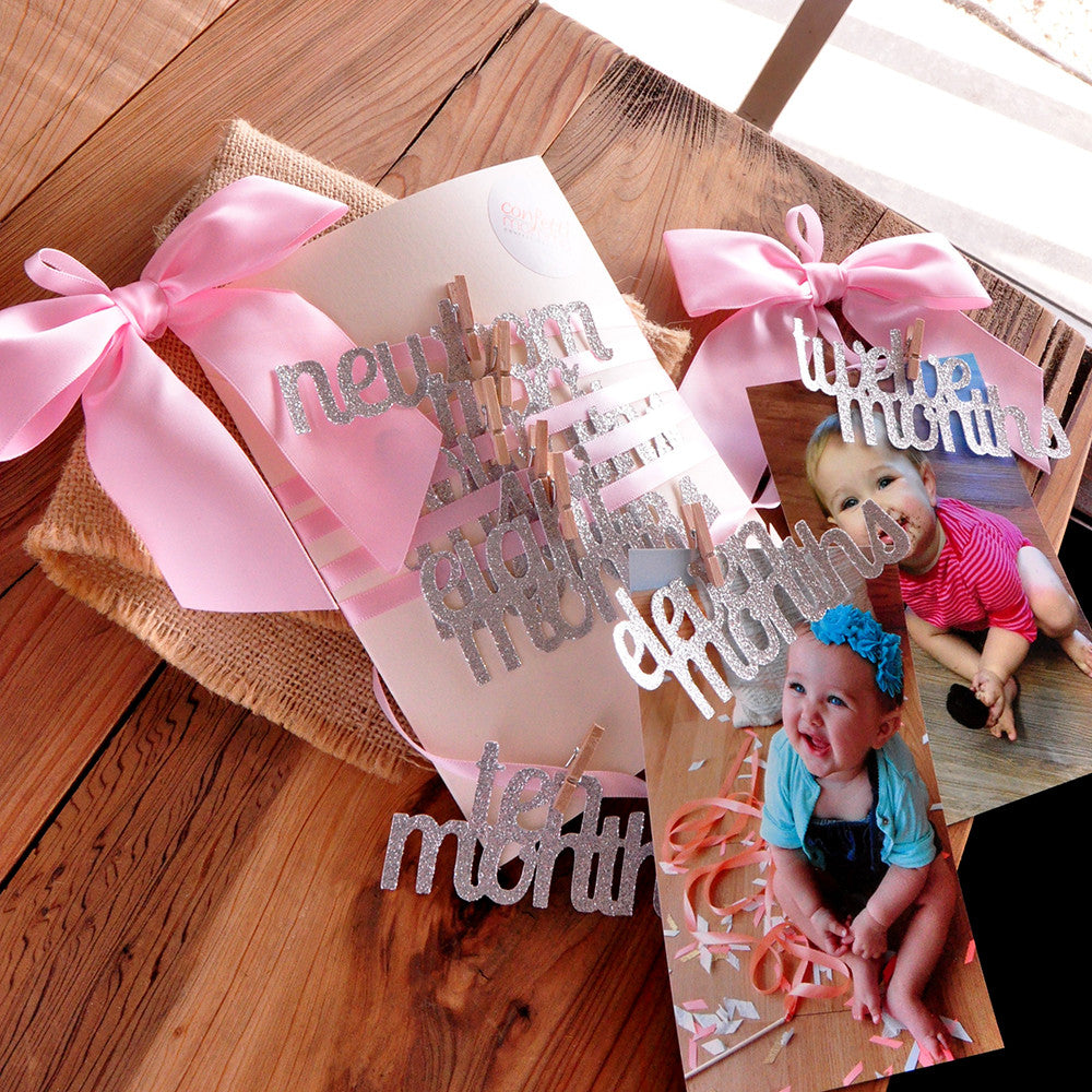 Pink and Silver First Birthday Decorations. Handcrafted in 1-3 Business Days. 12 Month Photo Banner.  First Birthday Garland.