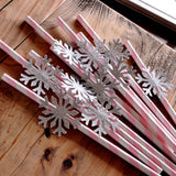 Pink and Silver Party Decorations. Ships in 1-3 Business Days.  Snowflake Straws 10CT. Winter Onederland Birthday.