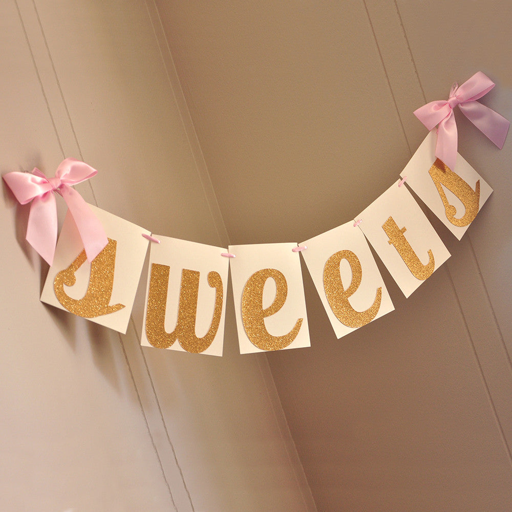 Sweets Banner. Ships in 1-3 Business Days. Candy Bar Banner. Pink and Gold Birthday Decor.