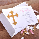 Baptism Invitations and Envelopes. We Print, Cut, Glue and Ship to You in 1-3 Business Days. Christening Invitations for a Girl.