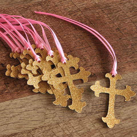 Baptism Decorations. Ships in 1-3 Business Days. Pink and Gold Christening Cross Favor Tags 10CT.