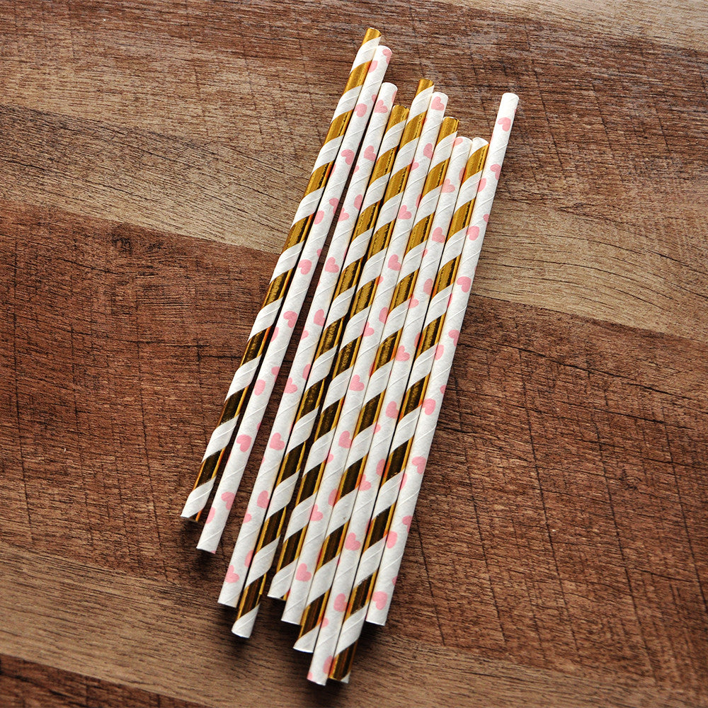 Pink and Gold First Birthday. Ships in 1-3 Business Days. Paper Straws. Metallic Gold Striped and Heart Straws 10CT.