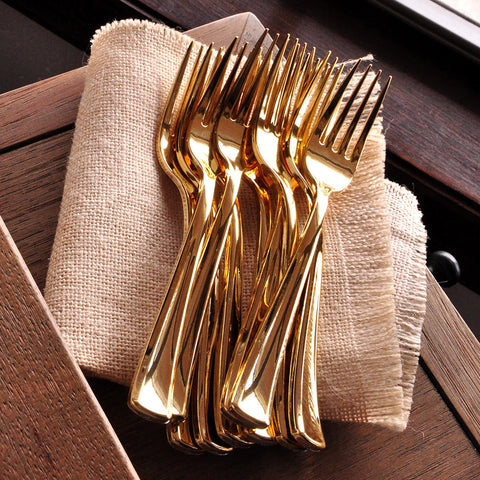 Plastic Gold Forks 25CT. Plastic Gold Silverware That Looks Real. Gold Plastic Cutlery.