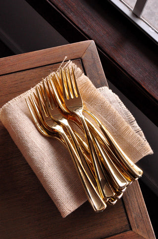 Plastic Gold Forks 25ct Plastic Gold Silverware That
