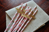 Princess Party Supplies. Ships in 1-3 Business Days. Pink & Gold Crown Paper Party Straws 10CT.