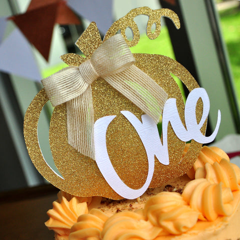 Our Little Pumpkin is Turning One Smash Cake Topper. Pumpkin Birthday Party Decorations. Handmade in 1-3 Business Days. One Cake Topper.