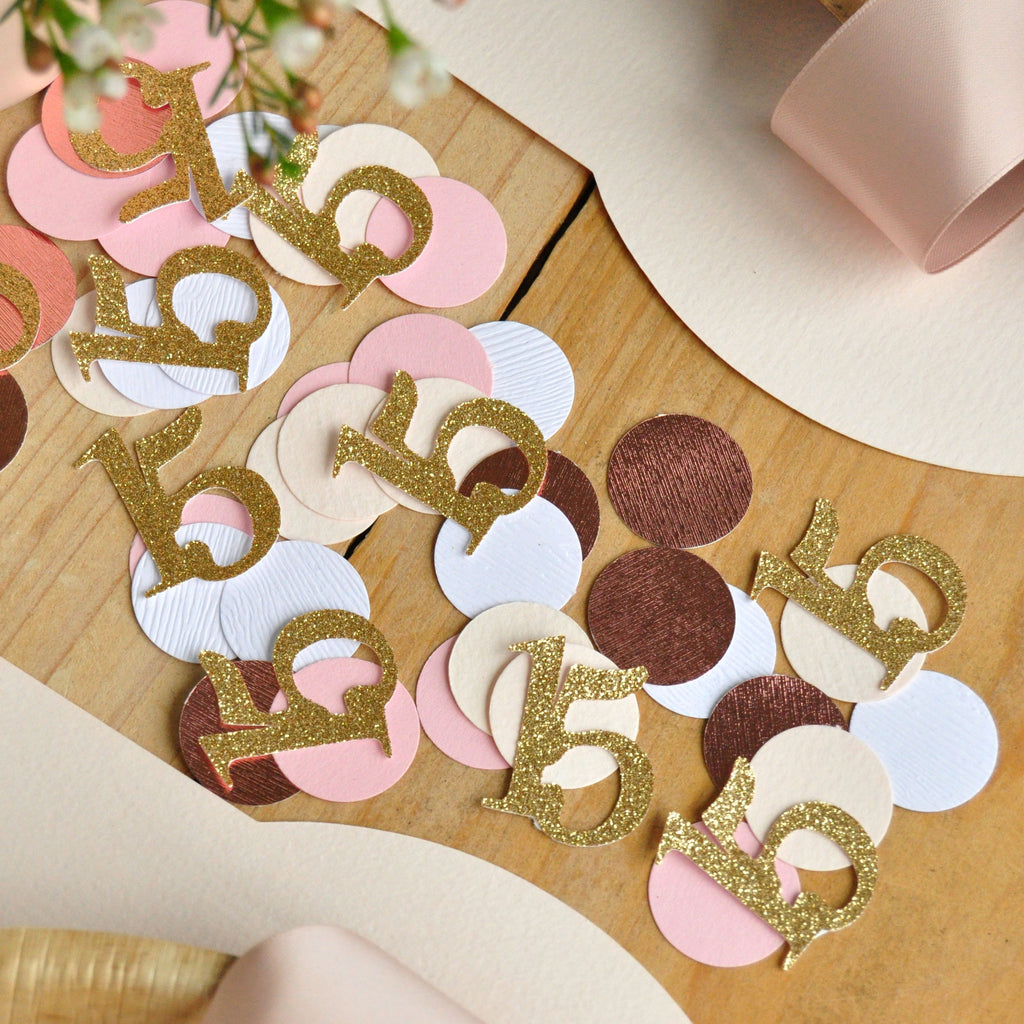 Quincenera Birthday Confetti. (50ct.)15th Birthday Table Decor. Sweet 15. Miss Quince Birthday Confetti.