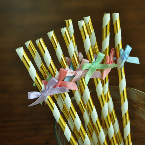 Rainbow Birthday Party Supplies. Unicorn Straws. Handcrafted in 1-3 Business Days. Unicorn Gold Straws with Bows. 10CT.