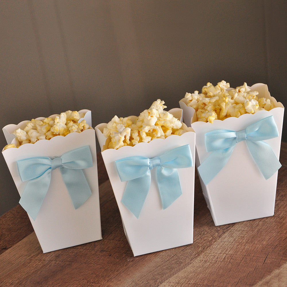 Ready to Pop Mini Popcorn Boxes with Bows. Ships in 1-3 Business Days. Ready to Pop Baby Shower Ideas. Popcorn Favor Boxes 10CT.