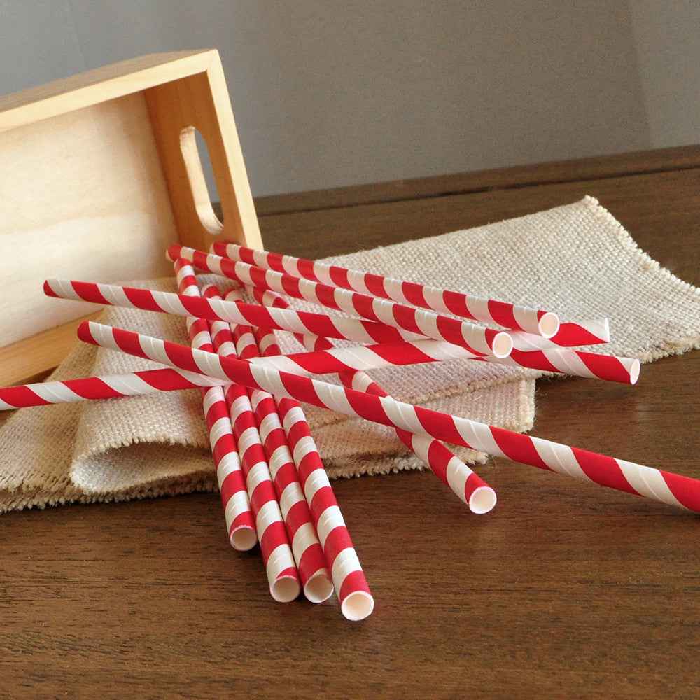 Red Paper Straws 10CT. Ships in 1-3 Business Days.  Holiday Party Straws.
