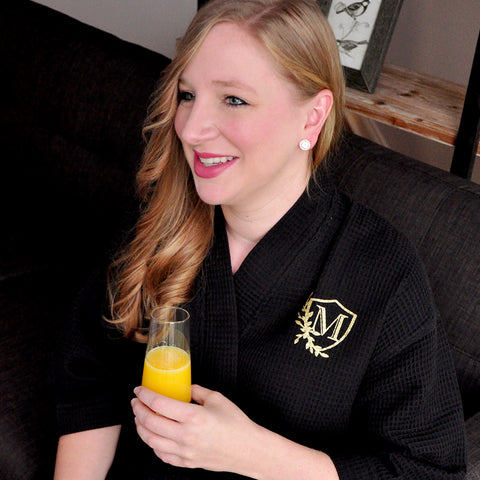 Robes for Bridesmaids (Qty.1). Personalized in 1-3 Business Days.  Black Waffle Robes for Weddings. Bridesmaid Gift Ideas.