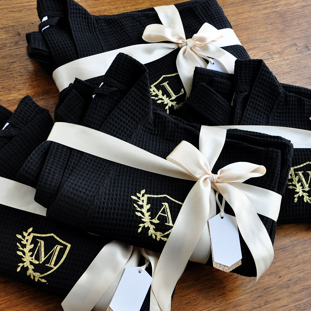 Bridesmaid Robes Personalized. (Qty.1). Personalized in 1-3 Business Days.  Robes for Bridesmaids Black. Waffle Weave Robe Monogram.