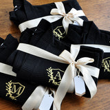 Getting Ready Robes for Bridesmaids (Qty. 1). Personalized in 1-3 Business Days.  Bridesmaid Robes Black. Waffle Weave Robe.