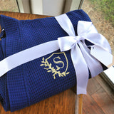 Robes for Bridesmaids Personalized. (Qty. 1). Personalized in 1-3 Business Days.  Navy Waffle Weave Bridal Robes. Bridesmaid Robe Cotton Waffle.