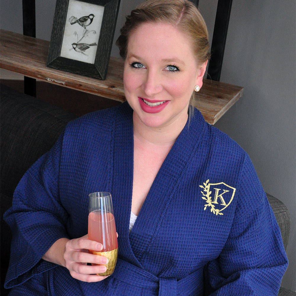 Bridesmaid Robes Navy. (Qty. 1). Robes for Wedding Party. Initial Monogram Waffle Robes.