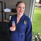 Bridesmaid Robes with Monogram. (Qty.1). Personalized in 1-3 Business Days.  Navy Waffle Weave Robe for Bridesmaids. Bridesmaid Robes Cotton.