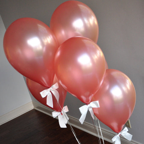 Rose Gold Balloons. Crafted in 1-3 Business Days. Winter Onederland Party Balloons. Rose Gold Balloons with White Bows 8CT + Curling Ribbon