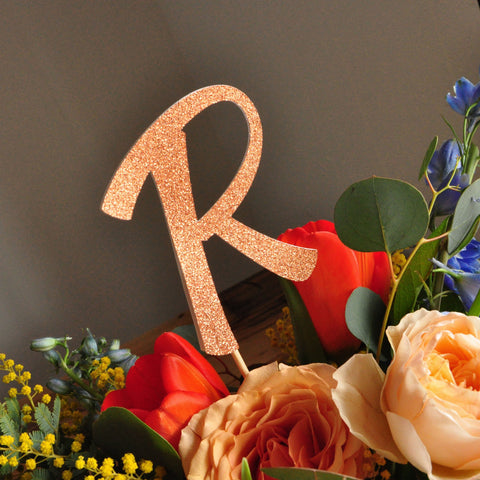 Rose Gold Centerpiece. Handcrafted in 1-3 Business Days. Glitter Letter Centerpiece 3CT.