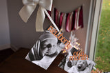Rose Gold First Birthday Monthly Photo Banner. Made in 1-3 Business Days. White and Rose Gold Photo Banner for One Year Old.  Photo Garland.