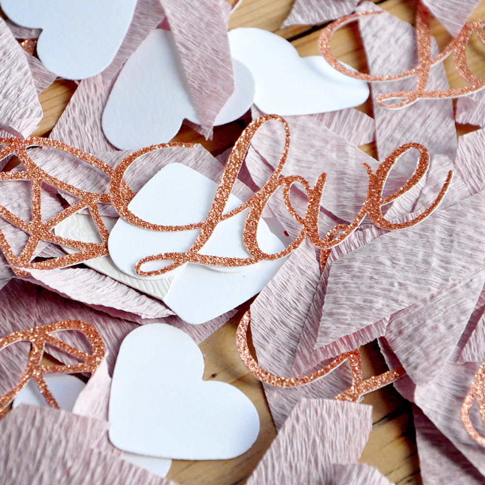 Bridal Shower Table Decor Confetti. Made in 1-3 Business Days. Rose Gold Love and Diamond Confetti with Mauve Crepe. Engagement Party Decor.