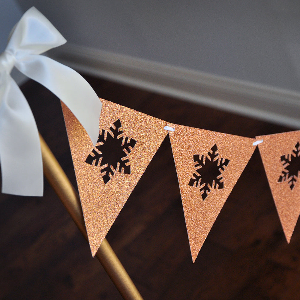 Winter Wonderland Backdrop Bunting Banner. Made in 1-3 Business Days. Snowflake Bunting Banner in Glitter Rose Gold. Winter Onederland 1 CT.