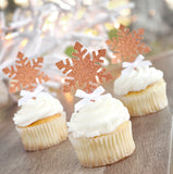 Snowflake Cupcake Picks 12CT. Made in 1-3 Business Days. Glitter Rose Gold Snowflake Toppers. Winter Onederland Cupcake Toppers.
