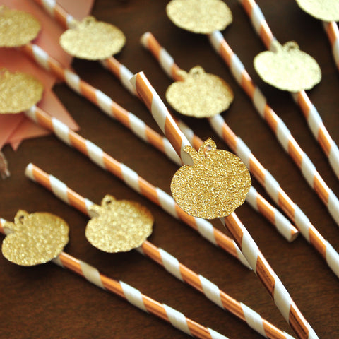 Rose Gold Straws with Pumpkins 10CT. Little Pumpkin Baby Shower Decorations. Handcrafted in 1-3 Business Days. Rose Gold Party Supplies.