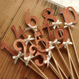 Rose Gold Table Numbers on Sticks.  Ships in 1-3 Business Days.  Rose Gold Glitter Number Centerpiece.