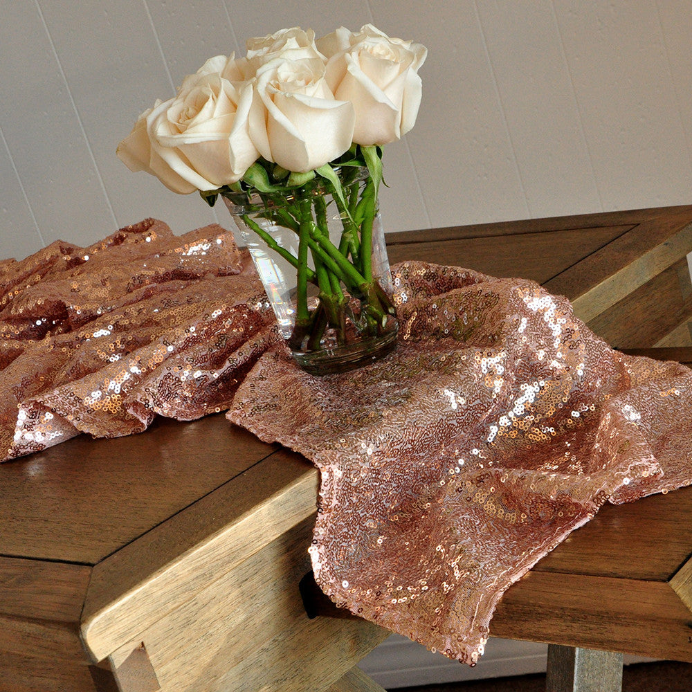 Completely new Rose Gold Table Runner. Ships in 1-3 Business Days. Sequin Table  HM46