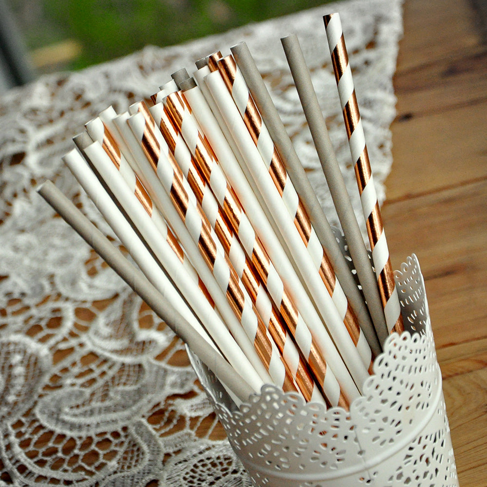 Paper Straws for Bridal Shower 25CT. Ready in 1-3 Business Days. Rose Gold Foil Striped Straw Mix. Rose Gold Bridal Shower Supplies.