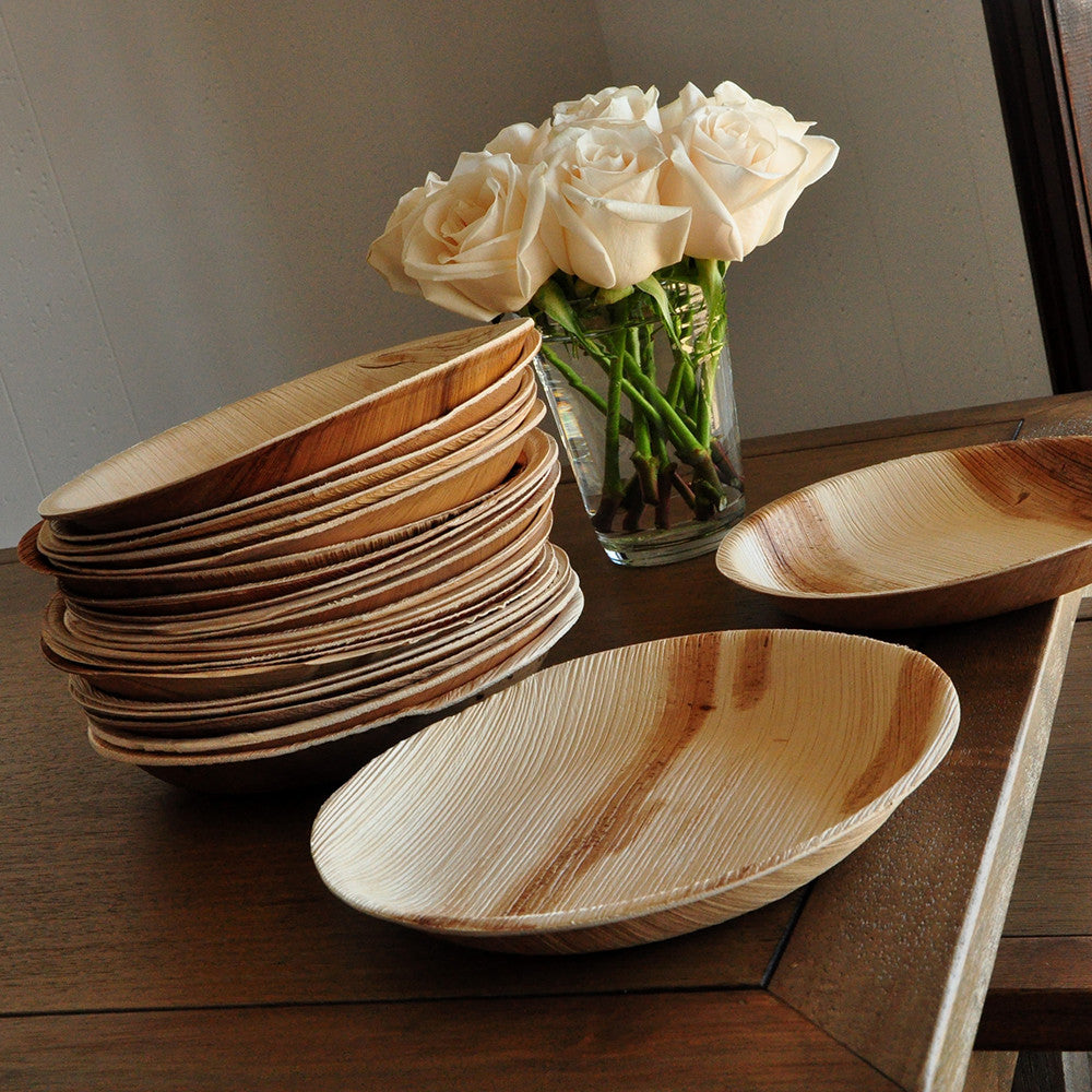 "Round Eco Friendly Plates 7"". Ships in 1-3 Business Days. Disposable Appetizer Plates. Sets of 10 Palm Leaf Plates."
