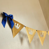 Royal Prince Baby Shower Bunting Banner.  Ships in 1-3 Business Days.  King Crown Garland.