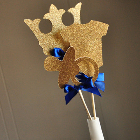 Royal Prince Baby Shower Decorations.  Ships in 1-3 Business Days.   Little Prince Party Centerpiece.  3CT.
