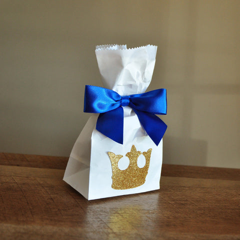 Royal Prince Baby Shower Favor Bags.  Ships in 1-3 Business Days.  Mini Party Favor Bags with King Crown and Bows 10CT. W36MFB.