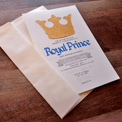 Royal Prince Baby Shower Invitations and Envelopes. We Print, Cut, Glue and Ship to You in 1-3 Business Days.
