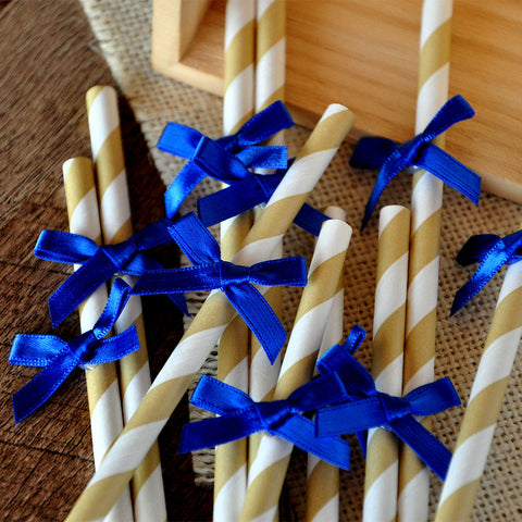 Royal Prince Baby Shower Straws 10CT. Ships in 1-3 Business Days. Gold Paper Straws with Royal Blue Bows.