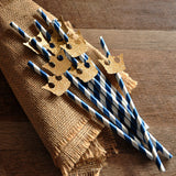 Royal Prince Baby Shower Straws 10CT. Ships in 1-3 Business Days. Royal Blue Paper Straws with Gold Crown Cutout.