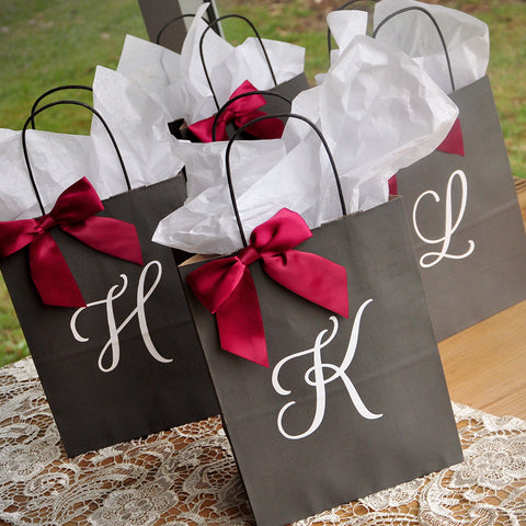 Bridal Party Gift · Personalized Gift Bags for Bridesmaids. Large Grey Paper Bags with Handles. & Personalized Gift Bags for Bridesmaids. Large Grey Paper Bags with ...