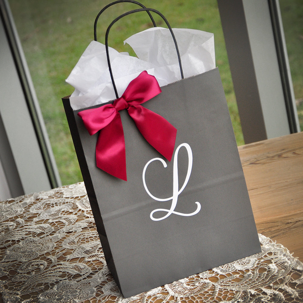 Personalized Gift Bags for Bridesmaids. Large Grey Paper Bags with Handles. Bridal Party Gift Bags. (Qty 1) G8KFT.