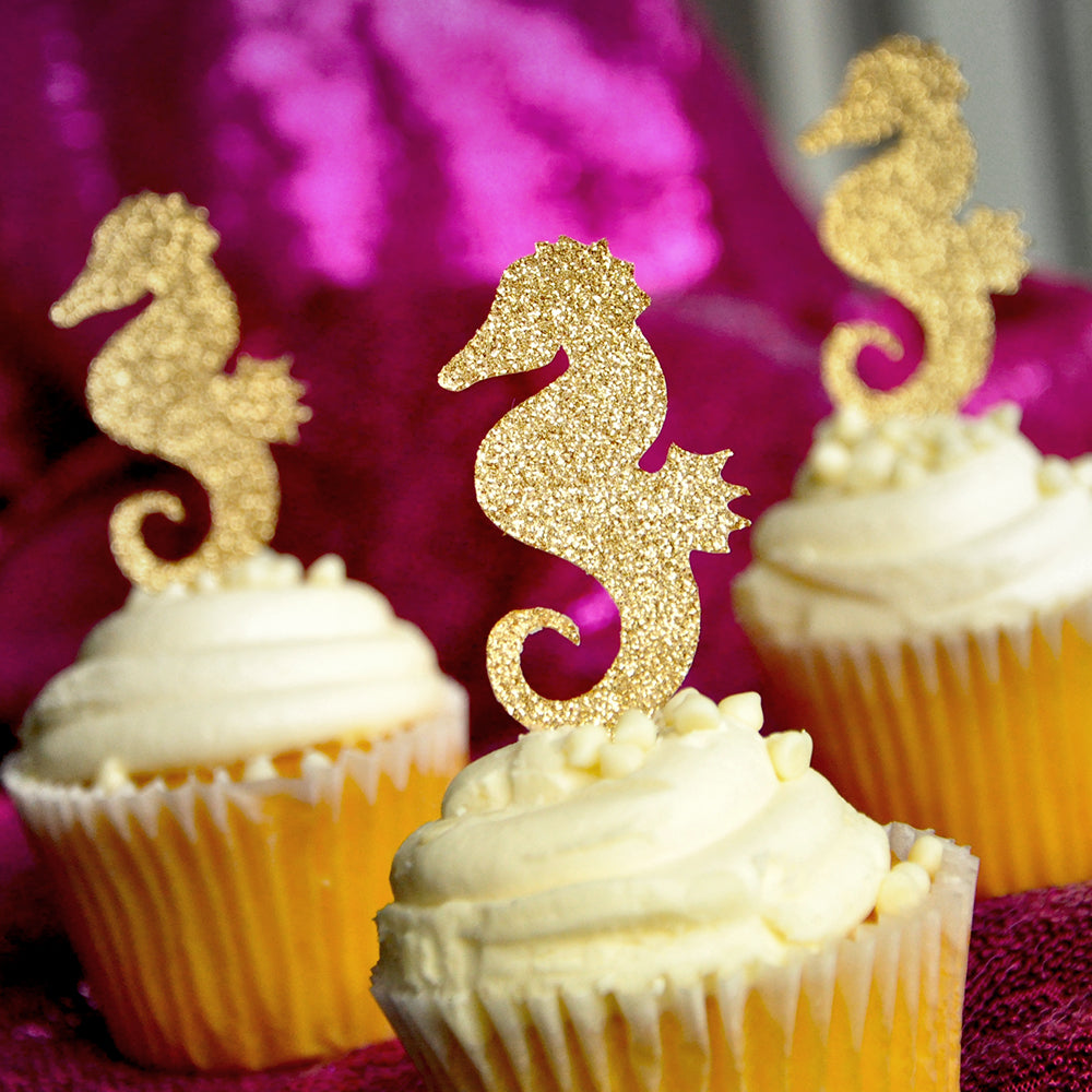 Seahorse Cupcake Toppers.  Ships in 1-3 Business Days.  Under the Sea Cupcake Toppers 12 CT.