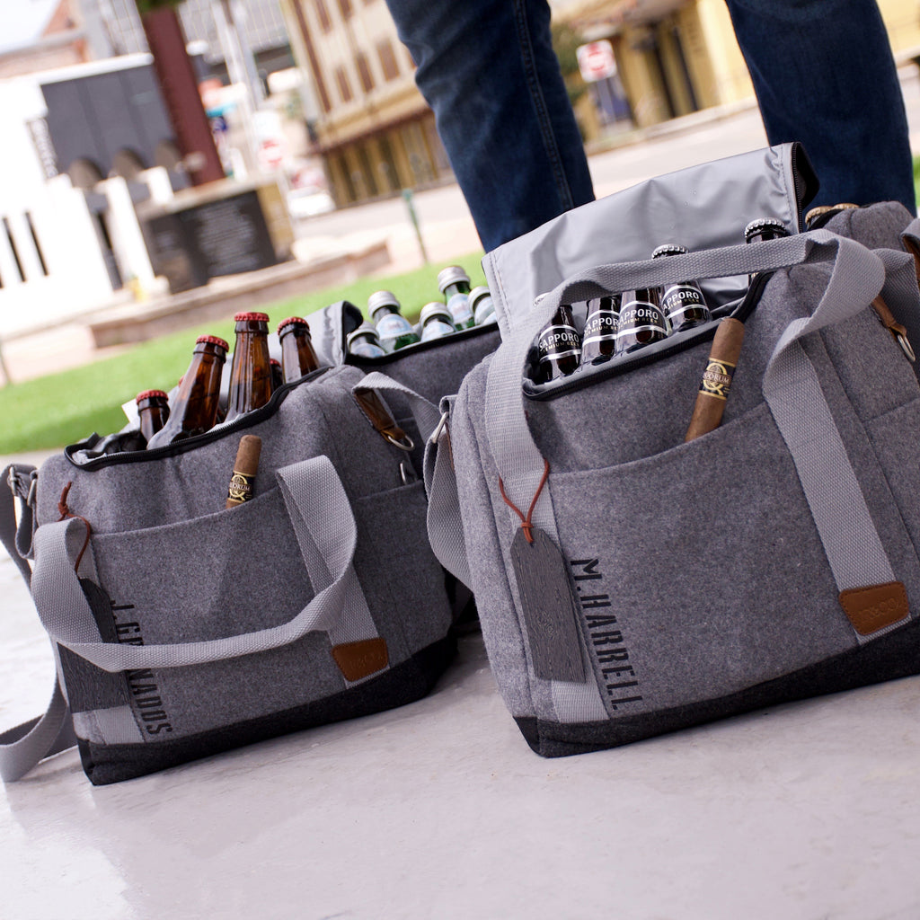 Pre-Order Only. Available Late-November. Personalized Groomsmen Gift (Qty. 1). Gray Cooler Bag with Strap. Groomsmen Cooler Beer Bag. Black Vinyl Personalized Wedding Gift Bag. S12WC.