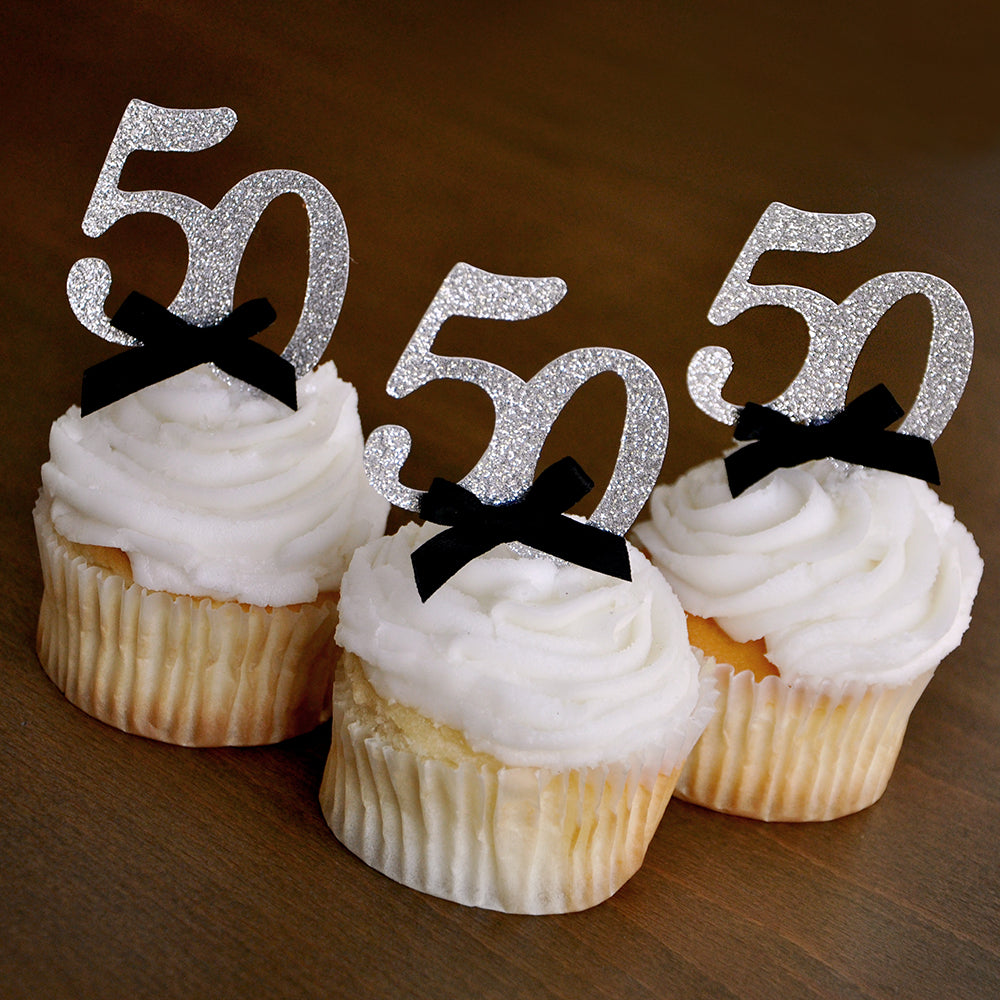 "50th Birthday Party Ideas. Ships in 1-3 Business Days. Glitter Silver Number ""50"" Cupcake Toppers 12CT."
