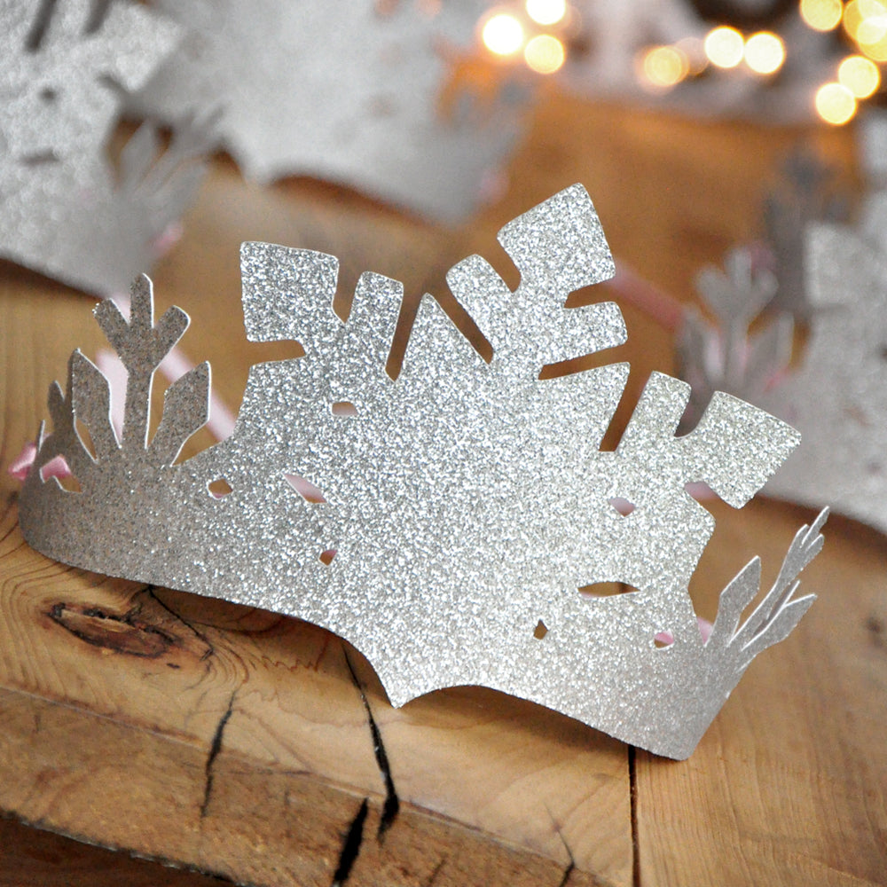 Winter Wonderland Party Favor Crowns. Made in 1-3 Business Days. Silver and Baby Pink Snowflake Crowns. Winter Onederland Decorations.