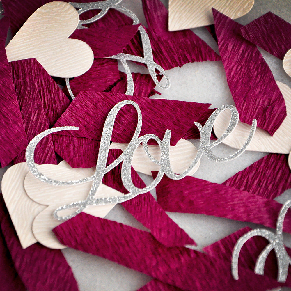 Burgundy Bridal Shower Decoration Confetti Ships In 1 3 Business Days Silver Love Confetti And Burgundy Crepe Confetti For Wedding