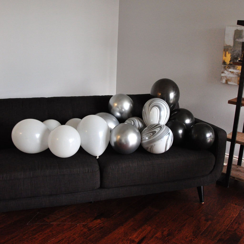 Silver Chrome Balloons. Agate Balloons. Marble Balloons Black and White. Balloon Mix. 16CT.
