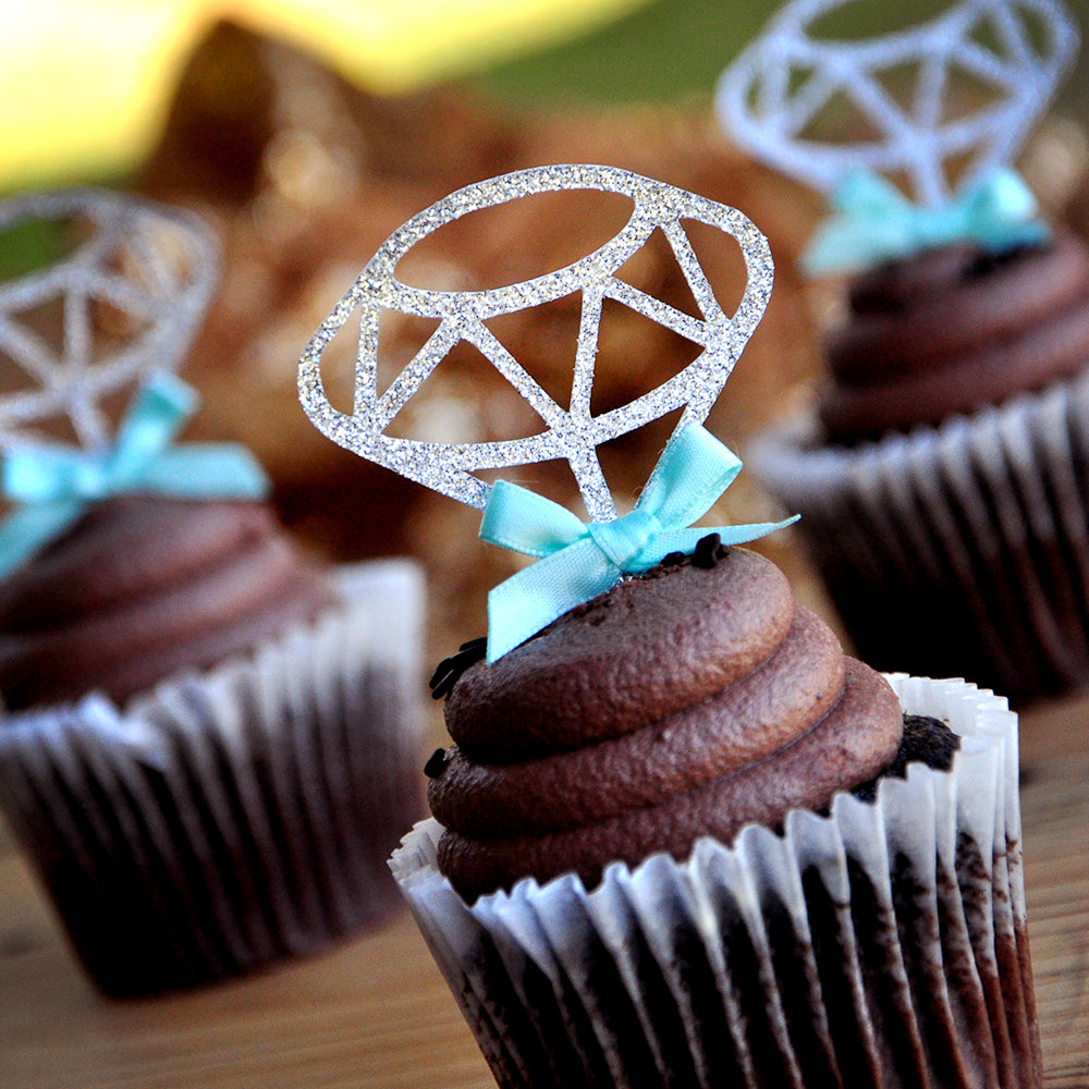 Bridal Shower Decorations. Ships in 1-3 Business Days. Diamond Cupcake Toppers 12CT.