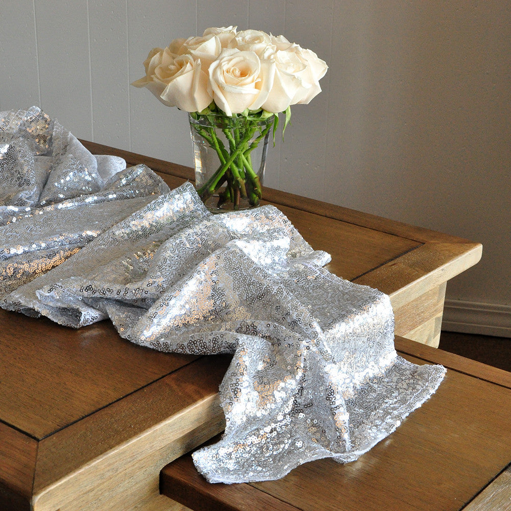 Silver Sequin Table Runner for Parties. Ships in 1-3 Business Days. Winter Wonderland Party Decorations. Silver Wedding Table Runner.